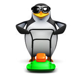 3d Penguin mows the lawn Royalty Free Stock Photo