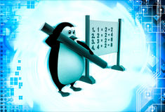3d penguin with multiplication table on board illustration Royalty Free Stock Photos