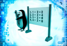 3d penguin with multiplication table on board illustration Stock Photos