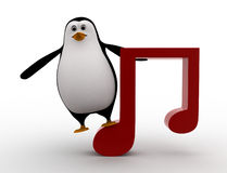 3d penguin with music red note symbol concept Royalty Free Stock Photo