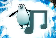3d penguin with music red note symbol illustation Royalty Free Stock Photography