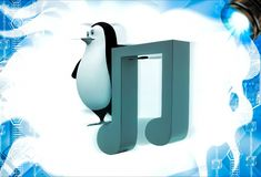 3d penguin with music red note symbol illustation Stock Photography