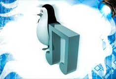 3d penguin with music red note symbol illustation Stock Photos