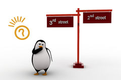 3d penguin 2nd and 3rd street sign board on road concept Royalty Free Stock Images