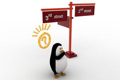 3d penguin 2nd and 3rd street sign board on road concept Stock Photography