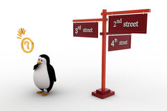 3d penguin 2nd and 3rd street sign board on road concept Royalty Free Stock Photography