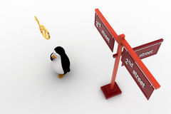3d penguin 2nd and 3rd street sign board on road concept Stock Image