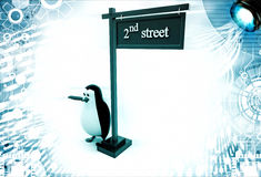 3d penguin with 2nd street board illustration Royalty Free Stock Image