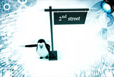 3d penguin with 2nd street board illustration Royalty Free Stock Images