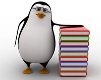 3d penguin nerd with books concept Stock Photo