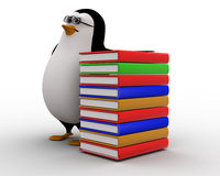 3d penguin nerd with books concept Stock Image