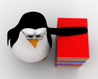 3d penguin nerd with books concept Stock Photography