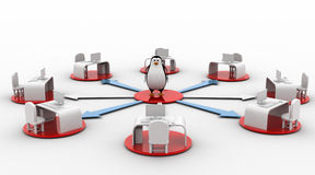 3d penguin on network of offices concept Stock Photos