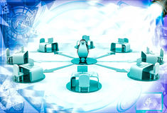 3d penguin on network of offices illustration Royalty Free Stock Image
