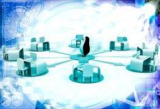 3d penguin on network of offices illustration Stock Photos