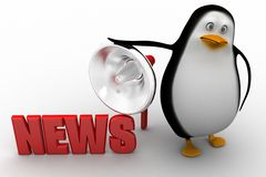 3d penguin with news illustration Stock Photo