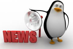 3d penguin with news illustration Stock Image