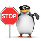 3d Penguin next to a stop sign Royalty Free Stock Photo