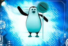 3d penguin with no entry or stop sign illustration Stock Photography