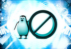 3d penguin with no entry and stop sing illustration Stock Image