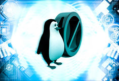 3d penguin with no entry and stop sing illustration Stock Photography