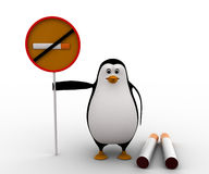 3d penguin with no smoking sing board and cigarates concept Royalty Free Stock Photos