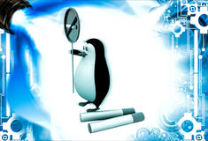3d penguin with no smoking sing board and cigarates illustration Royalty Free Stock Images