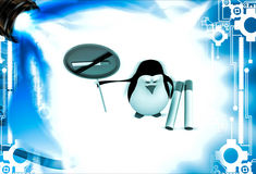 3d penguin with no smoking sing board and cigarates illustration Royalty Free Stock Photo