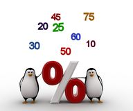 3d penguin with numbers and percentage symbol concept Royalty Free Stock Image