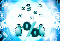 3d penguin with numbers and percentage symbol illustration Royalty Free Stock Images