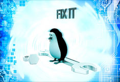 3d penguin with nuts and mechanical wrench illustration Royalty Free Stock Images