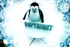3d penguin observing copyright text with magnifying glass illustration Royalty Free Stock Images