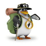 3d Penguin is off hiking again Stock Photography