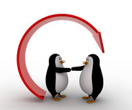3d penguin offer hand for handshake under recycle arrow concept Stock Photo