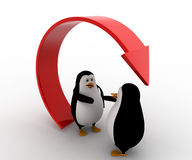 3d penguin offer hand for handshake under recycle arrow concept Royalty Free Stock Image