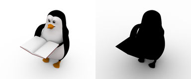 3d penguin with open book in hand concept collections with alpha and shadow channel Stock Image