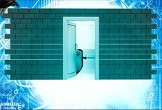 3d penguin open door illustration Stock Image