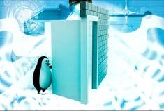 3d penguin open door illustration Royalty Free Stock Photography