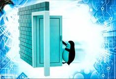 3d penguin open door illustration Royalty Free Stock Photo
