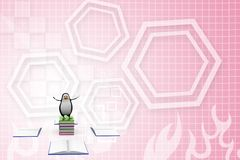 3d penguin over Blank opened and closed books Illustration Stock Photo