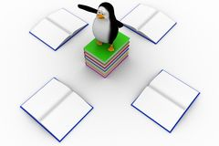 3d penguin over Blank opened and closed books Royalty Free Stock Photo