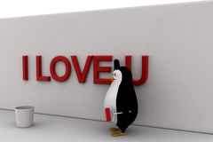 3d penguin paint I LOVE YOU on wall with red paint concept Stock Image