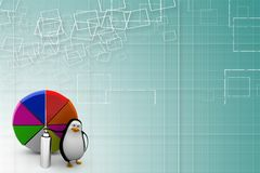 A 3d penguin with paint and pie chart Illustration Stock Photo