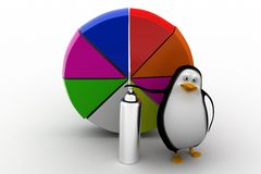 A 3d penguin with paint and pie chart Royalty Free Stock Photos