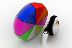 A 3d penguin with paint and pie chart Stock Photos