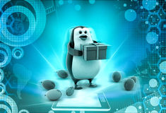 3d penguin in part with gift and balloons concept Royalty Free Stock Image