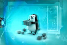 3d penguin in part with gift and balloons concept Stock Photos