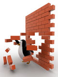 3d penguin passing through wall and destroy it concept Royalty Free Stock Images