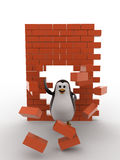 3d penguin passing through wall and destroy it concept Stock Photography