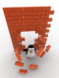 3d penguin passing through wall and destroy it concept Royalty Free Stock Photos